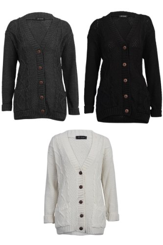 5389e2ea91 52I Womens Grey Casual Chunky Knitted Aran Button Up Ladies Cardigan ...