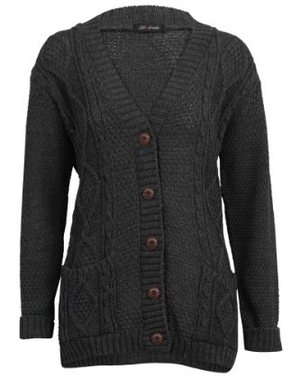 52e657a931 ... Up Ladies Cardigan Size 8 10. 52I-Womens-Grey-Casual-Chunky-Knitted-Aran -Button-