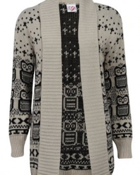 b59bb76357 ... Size 8 10. Long sleeved baggy knitted cardigan Aran style pattern on  the front Features brown buttons. 66B-New-Womens-Oat-Owl-Printed-Ladies -Long-
