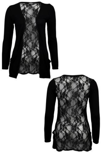 78s Womens Black Floral Lace Back Ladies Long Boyfriend