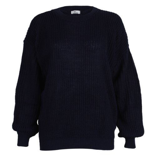 9L Womens Blue Ladies Oversized Knitted Baggy Chunky Jumper Sweater ... e2c679391