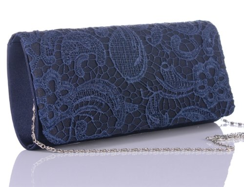 ANDI ROSE Womenu0026#39;s Floral Flower Lace Satin Evening Party Handbag Purse Clutch Prom Bag (Blue ...