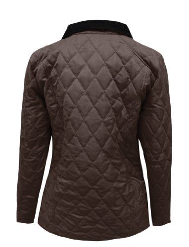 Amber Apparel Ladies Quilted Padded Button Zip Jacket Coat
