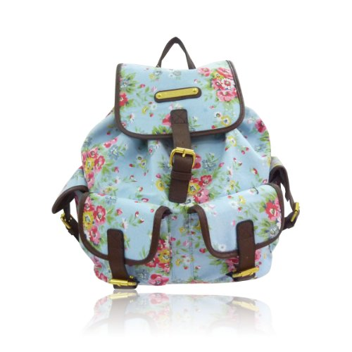 Anna Smith (LYDC) Designer Floral Backpack/Rucksack/School Bag (Light Blue) - Top Fashion Shop