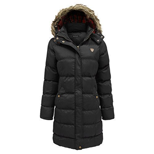 f93840c1f195 BRAVE SOUL LADIES FUR HOODED QUILTED PADDED LONG PARKA JACKET COAT ...