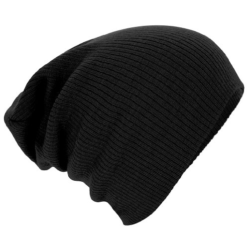 beb7ef659dc Beechfield Unisex Slouch Winter Beanie Hat (One Size) (Black) - Top ...