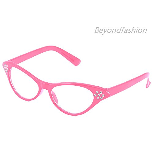 f28df06c2c8 Beyondfashion 50 s Grease Ladies Rock and Roll Fancy Dress Glasses ...