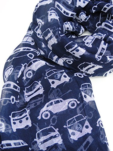 blue vw volkswagen campervan beetle car scarf ladies fashion scarves  hanging heart gift