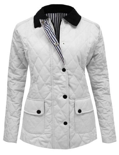 CANDY FLOSS LADIES QUILTED PADDED BUTTON ZIP JACKET COAT TOP WHITE