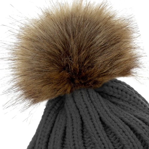 3095c7dbf92 CASPAR Womens Winter Rib Knitted Hat   Beanie with Chunky Faux Fur ...