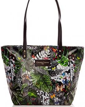 leconi women handbag shopper vintage shoulder bag canvas real cow leather used look dark brown. Black Bedroom Furniture Sets. Home Design Ideas