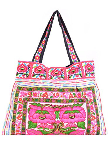 Colourful Thai Flower Woven   Embroidered Tote handbag for Women ... f7436c29960d6