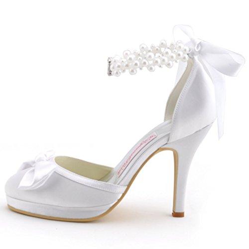 2d329763d6 Elegantpark EP11074-PF White Women's Pearls Platform Stiletto high ...
