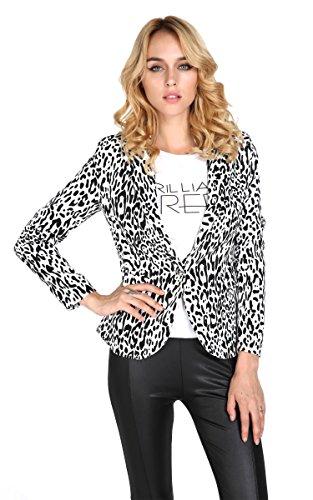 3a126c0194f FINEJO Jacket Leopard Blazer Women Coat Suit One Button S-XL Long ...