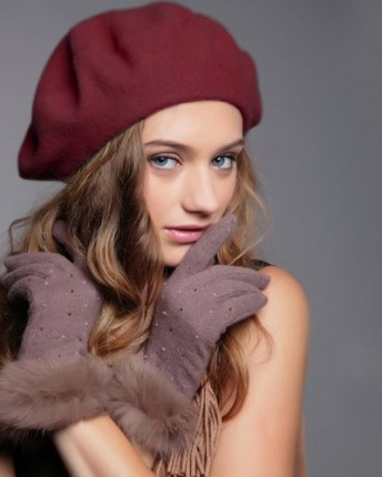 e666535cebd90 ... Winter Felt Wool Beret Beanie Hat Ski Cap Tam Gifts 9 colors for  selection with high quality (08 Wine Red). Fashion-100-Wool-Warm-New-Women- Lady-French-