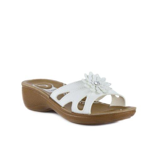 Gezer Womens Comfort Mule Flower Sandal In White Size 40