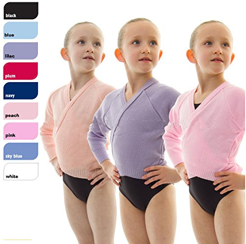 Girls Ballet Dance Knitted Crossover Cardigan Wrap Over Long Sleeved By Dance Gear (XLS) – Black – Chest Size 26″