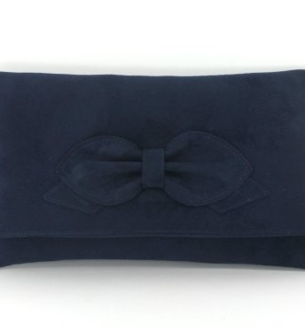 Gorgeous Faux Suede Bow ClutchShoulder Bag Wedding Prom Bag Medium Size Dark Navy Top Fashion Shop
