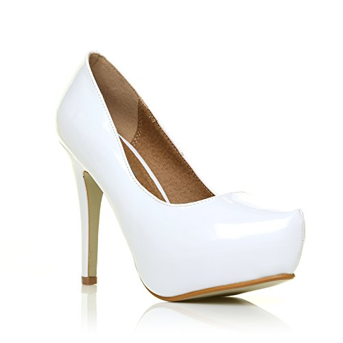 h251 white patent pu leather stiletto high heel concealed