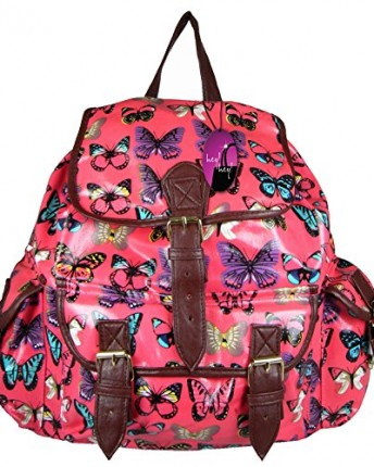 hey hey handbags ladies printed backpack with pockets butterfly pink oilcloth top. Black Bedroom Furniture Sets. Home Design Ideas