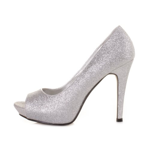 high heel peep toe silver glitter court prom shoes size 5