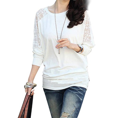 8441621f ISASSY Womens Ladies Stylish Sexy Hot Loose Batwing Dolman Lace Blouses Top  T-shirt, Batwing Style, Long Sleeves, Loose Style