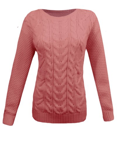 ba524b3302ee LADIES CABLE KNITTED CREW ROUND NECK LONG SLEEVE WOMENS JUMPER ...