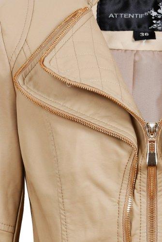 Ladies Double Collar Biker Jacket Crop Pu Faux Leather