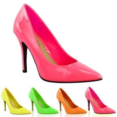 Choose from an array of colorful shoes made by prominent brands, like neon orange heels from Christian Louboutin or neon pink heels from Valentino. You can even find neon pumps in interesting camouflage patterns, or decked out with sequins for an extra boost of dazzling boldness.