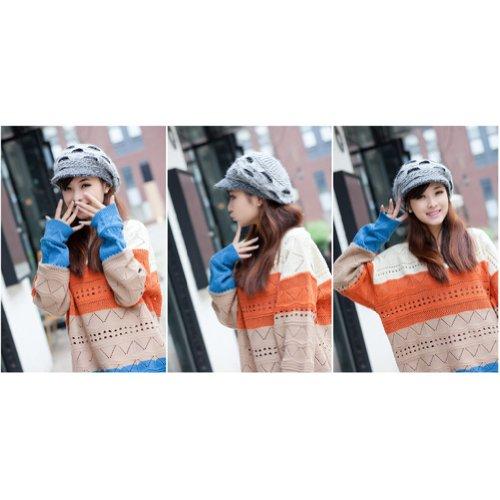 58ca1907548 LOCOMO Women Girl Slouchy Cut Openings Fluffy Knit Beanie Crochet ...