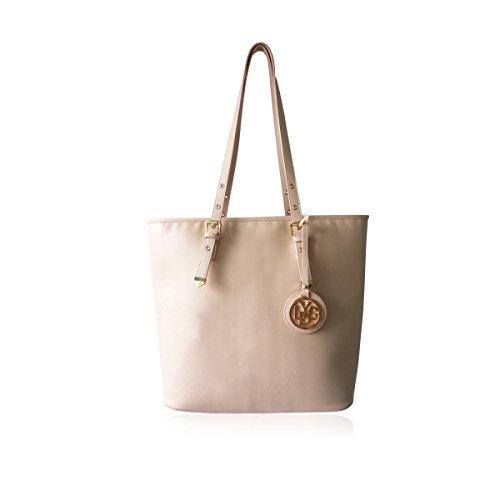 7b32db8d2351 ... Shoulder Bag Zipper Fashion Womens Office Vintage Colors Retro (Light  Pink). LYDC-New-Ladies-Faux-Leather-Tote-Handles-Buckle-