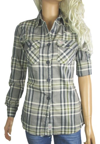 Ladies Checked Shirts Fitted Check Blouses Grey Uk 14 Eu