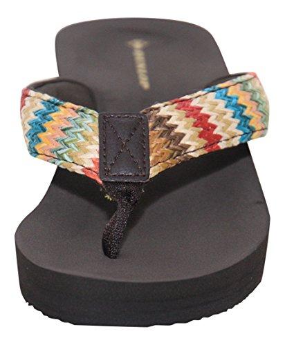 16d3fe6284db47 Ladies Dunlop Brown Beige Summer Sandals Flip Flops Casual New Wedge ...