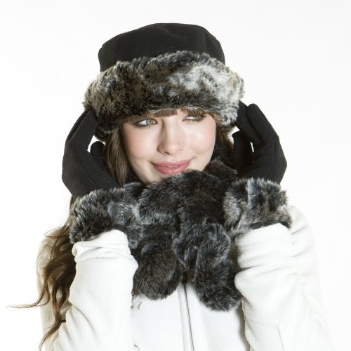 faux fur chilton crown hat glove twist effect scarf