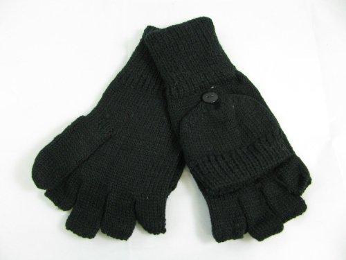 Knitting Patterns For Fingerless Gloves With Mitten Cover : Ladies Knitted Fingerless Gloves with Mitten Covers.One ...