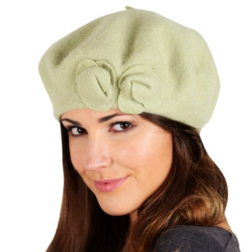 Ladies Pippa Classic Wool Beret Hat With 2 Roses Winter Accessory ... c6777fde29e4