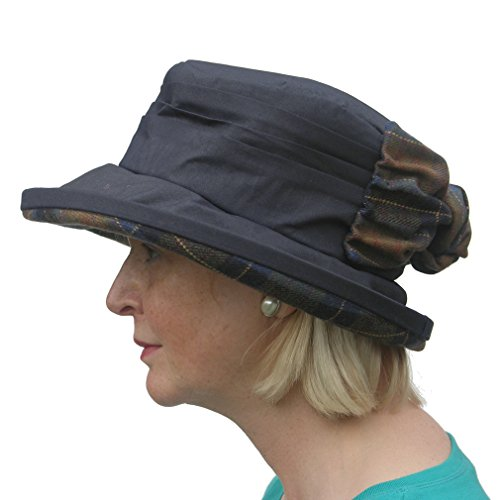 Ladies Pleated Wax Waterproof Winter Rain Hat with Bow (Navy) - Top ... 489c7a10613