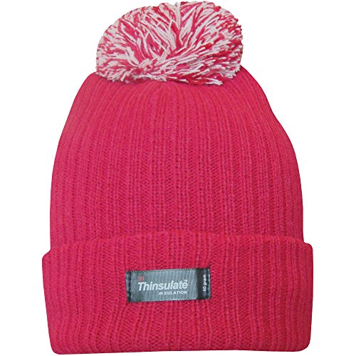 6f2227133 Ladies Thinsulate Chunky Knit Fleece Lined Insulated Thermal Winter Bobble  Hat (Ruby)