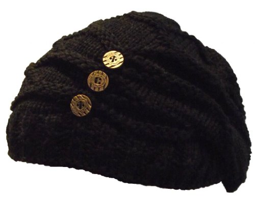 e3d9410f94a Ladies Winter Woolly Knitted Baggy Slouch Button Detail Ski Beanie ...