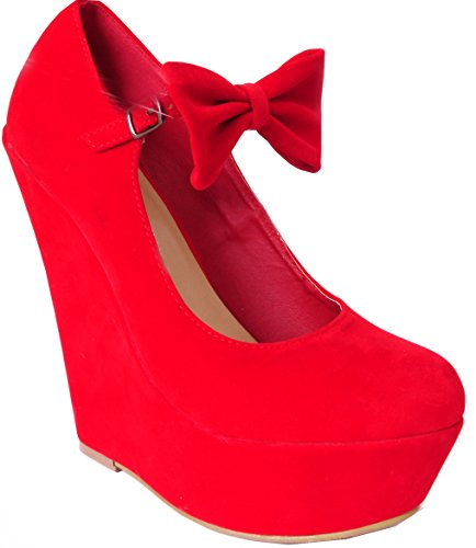 bf96618f859 Ladies Womens Bright Red Bow Detail High Heels Platforms Wedges Shoes Court  Ankle Strap 3-8 (UK6/EURO39)