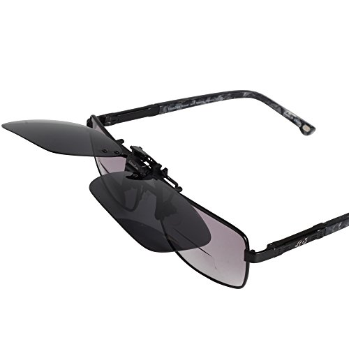 liansan gray rectangle clip on sunglasses polarized