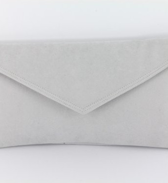 price remains stable new collection beautiful style Loni Neat Envelope Faux Suede Clutch Bag/Shoulder Bag In Very Pale Grey