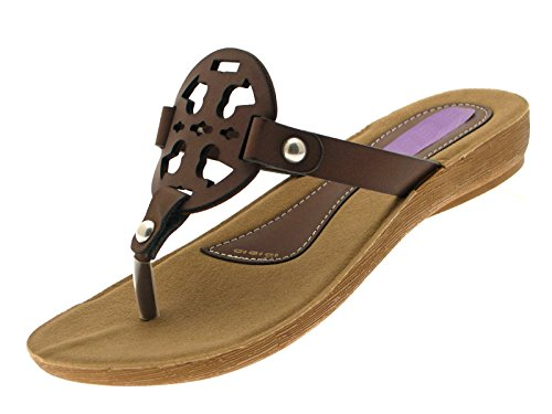 bc5b2c7fd95126 Lora Dora Womens Faux Leather Toe Posts Flip Flops Low Wedges ...