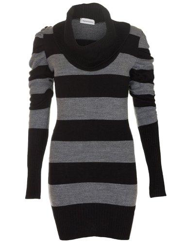 ac7d15b215f Love My Fashions Womens Ladies Full Length Striped Cowl Neck Long ...