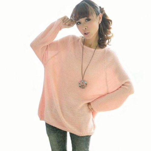 Luckshop2012 Pink Women Grils Batwing Round Neck Knitted Pullover Jumper Loos...