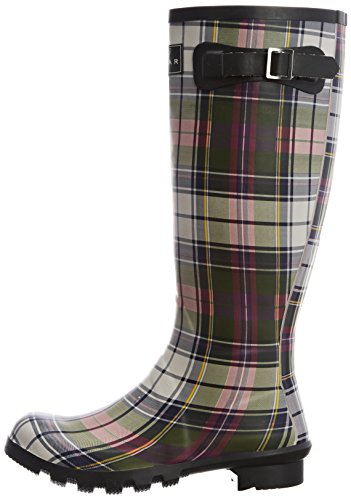 Lunar Womens Tartan Wellington Boots Elw035 Green 7 Uk 40