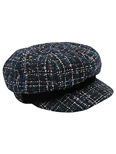 ... Baker Boy Hat Navy One Size. MCo-Ladies-Navy-Boucle -Textured-Fabric-Checked-Winter- 5434fc56823