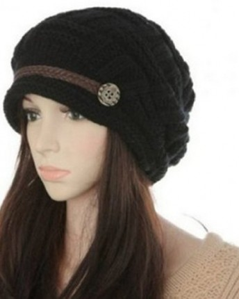 d3e78839763a9 Masione Slouch Beanies Button Hats Knitted Crochet Baggy Beret ...