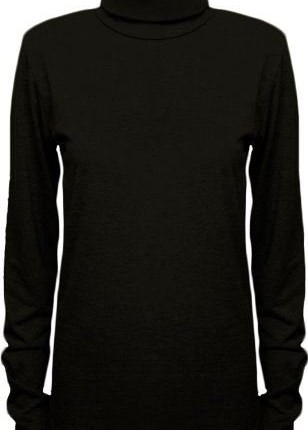 LADIES LONG SLEEVES POLO NECK STRETCH TOP TURTLE NECK JUMPER SIZES 8-26