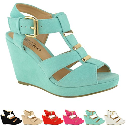 new womens low mid high heel strappy wedges peep